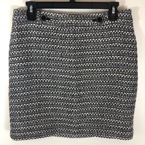 Loft Wool Buttoned Patterned Classic Skirt